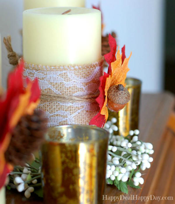 Fall Candle Decor with Burlap