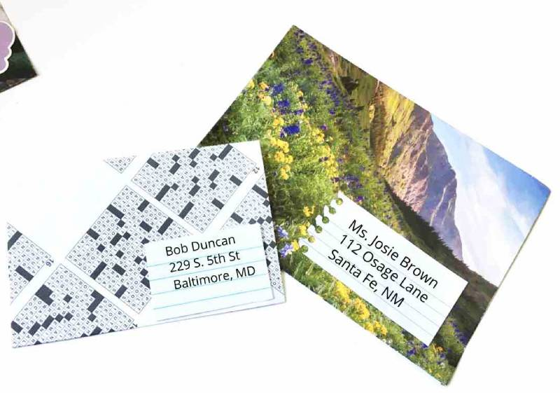 DIY Envelope from Calendar or Crossword Puzzle pages
