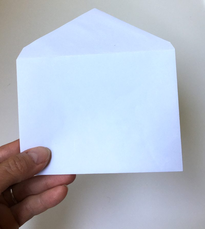 plain white envelope to use as a template
