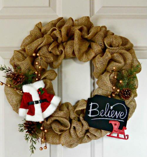 Burlap Fabric Wreath