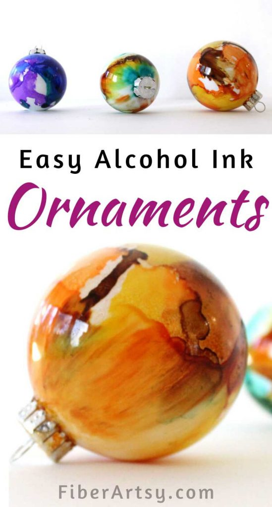 DIY Christmas Ornaments painted with Alcohol Inks