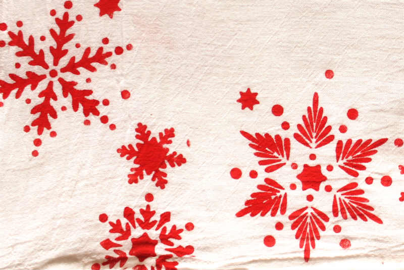 Cotton Fabric Tea Towel stenciled with snow flakes for Christmas