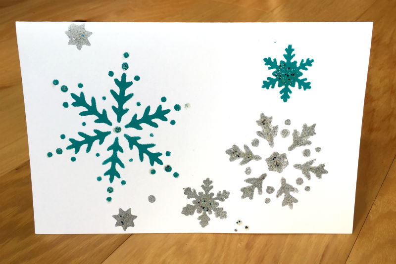 Hand Stenciled Christmas Greeting Card with painted Snow Flakes