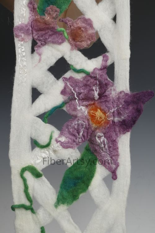 Felted Wool Scarf with Felt Flowers