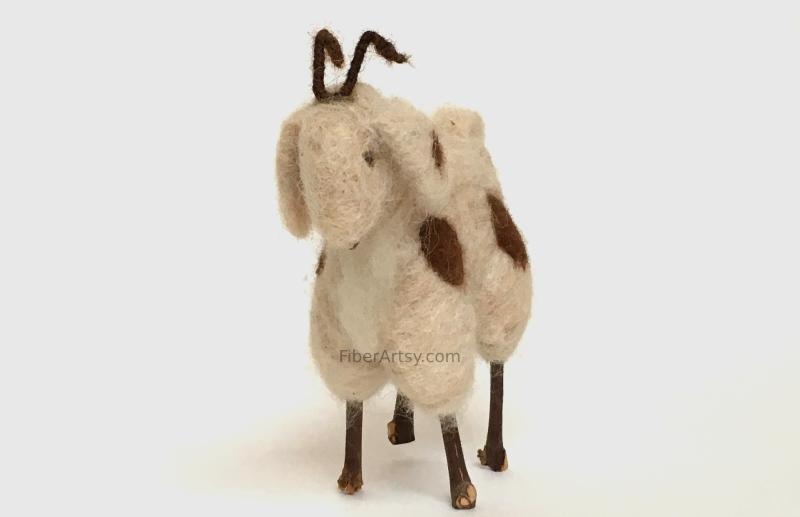 Needle Felt Goat Sculpture