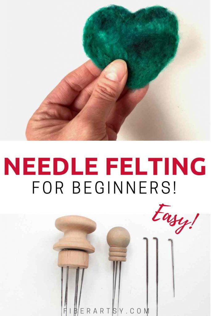 Easy method to learn needle felting using wool roving and cookie cutters