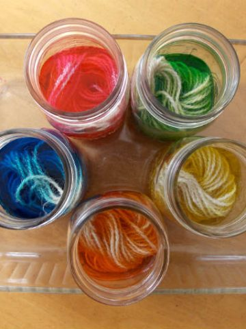 Dyeing yarn with Easter Egg Dye Tablets