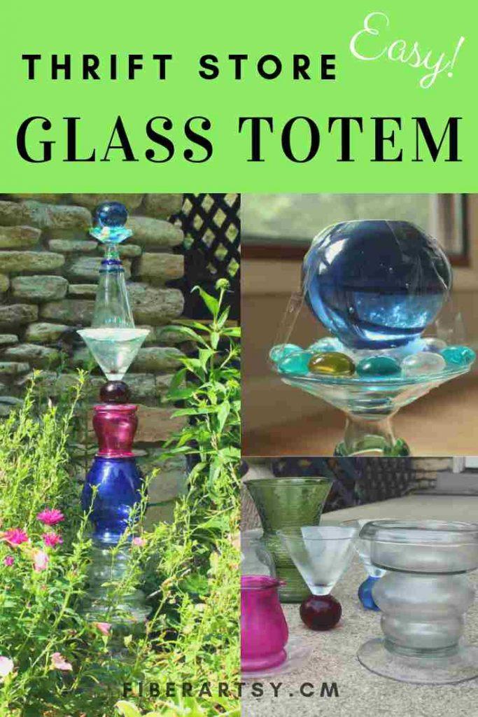 Easy Diy Glass Garden Art Totem Fiberartsy Com