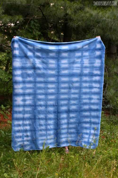 Indigo Dyed Blanket. Shibori or Tie Dyeing
