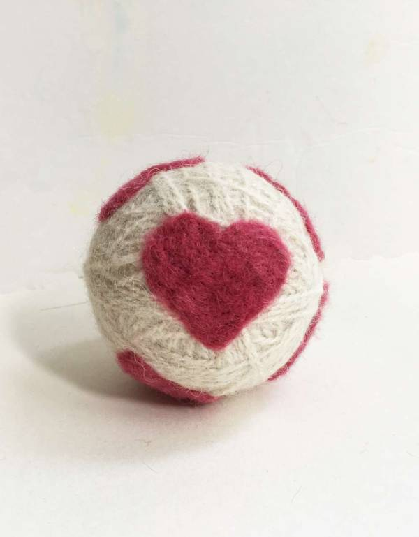 Wool Dryer Ball with a Felted Heart