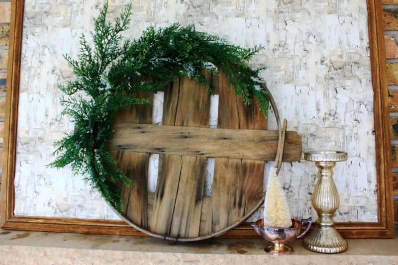 Christmas Wreath made with a Bushel Basket and Fresh Greenery