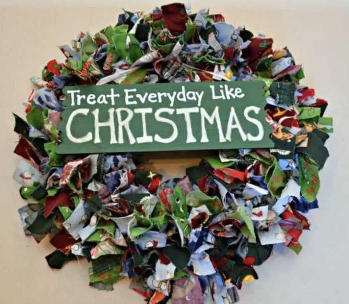 Fabric Scrap Christmas Wreath