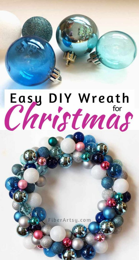 DIY Christmas Wreath made with Ball Ornaments