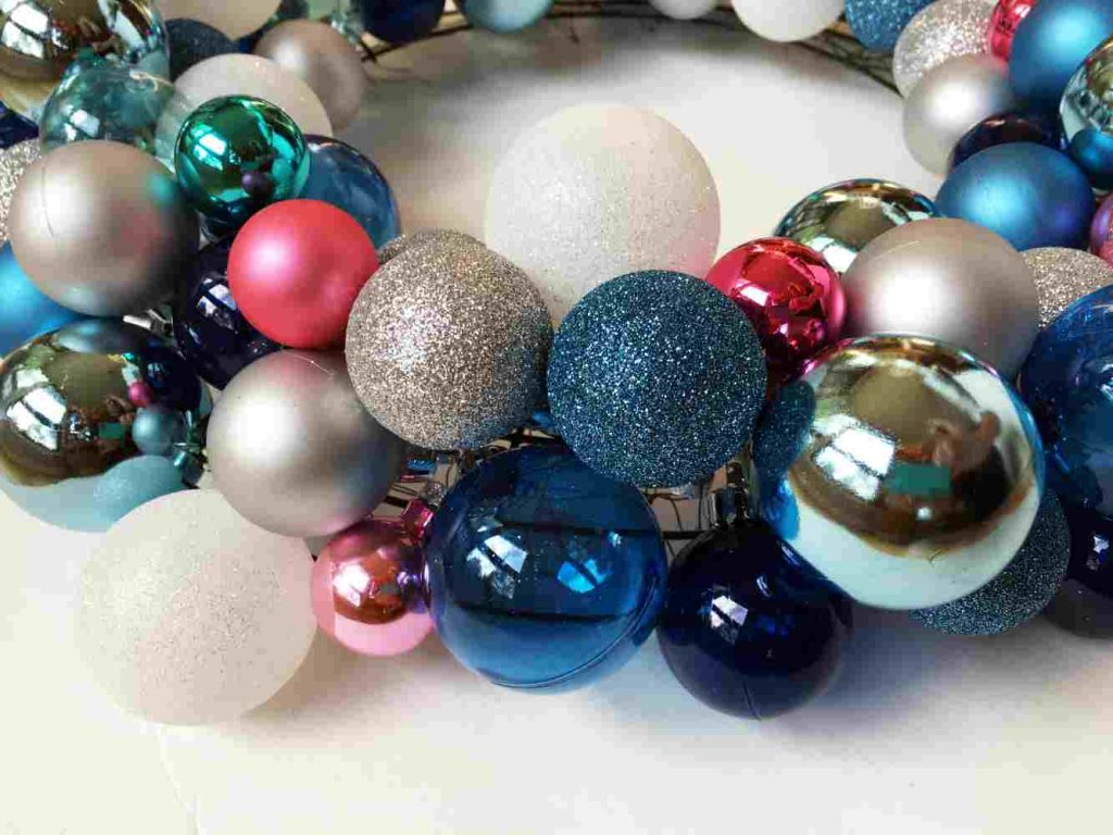Side View of DIY Christmas Wreath with Ball Ornaments