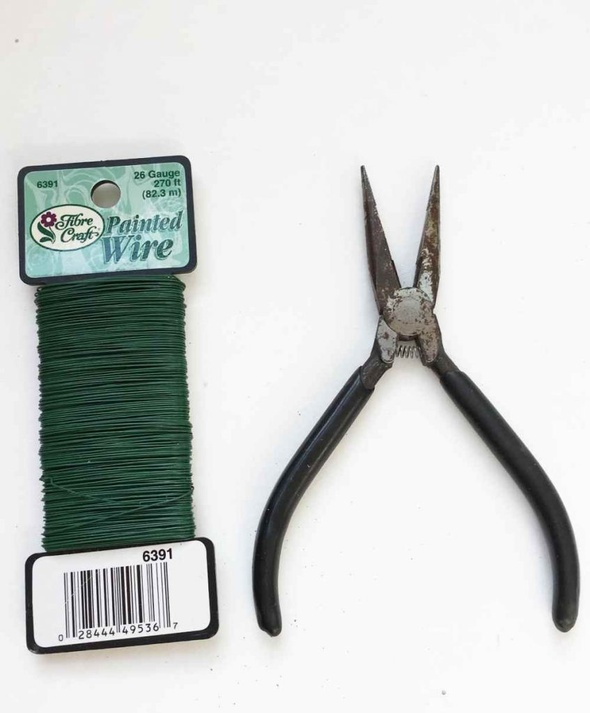Wire Cutters and Floral Wire for making a DIY Christmas Wreath with Ball Ornaments