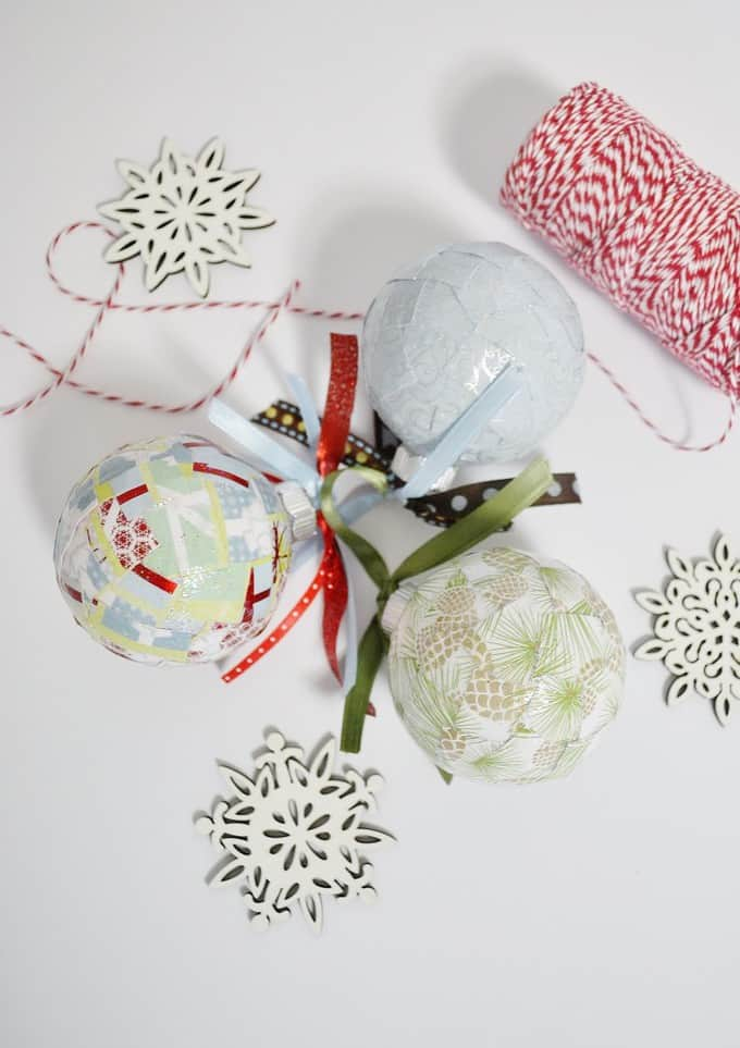 Unique DIY Christmas Ornament Ideas. Decoupage Christmas Ornaments