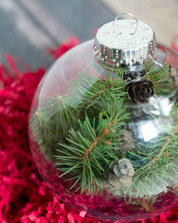 Globe Christmas Ornament with Pine Greenery