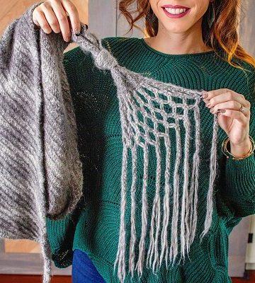 Free Knitting Pattern - Macrame Shawl