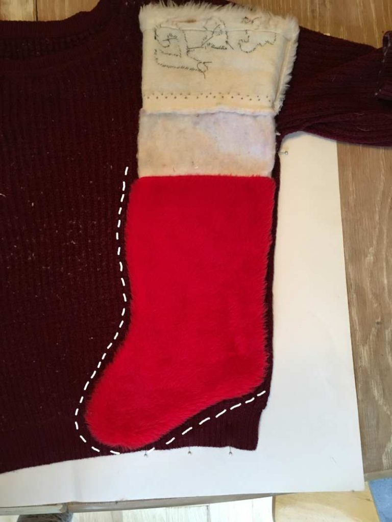 Cutting out the DIY Christmas Stocking