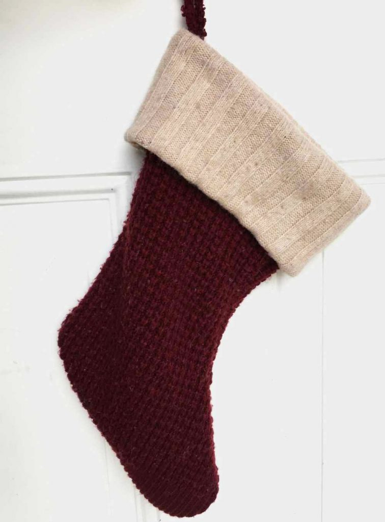 DIY Christmas Stocking made from an Old Sweater