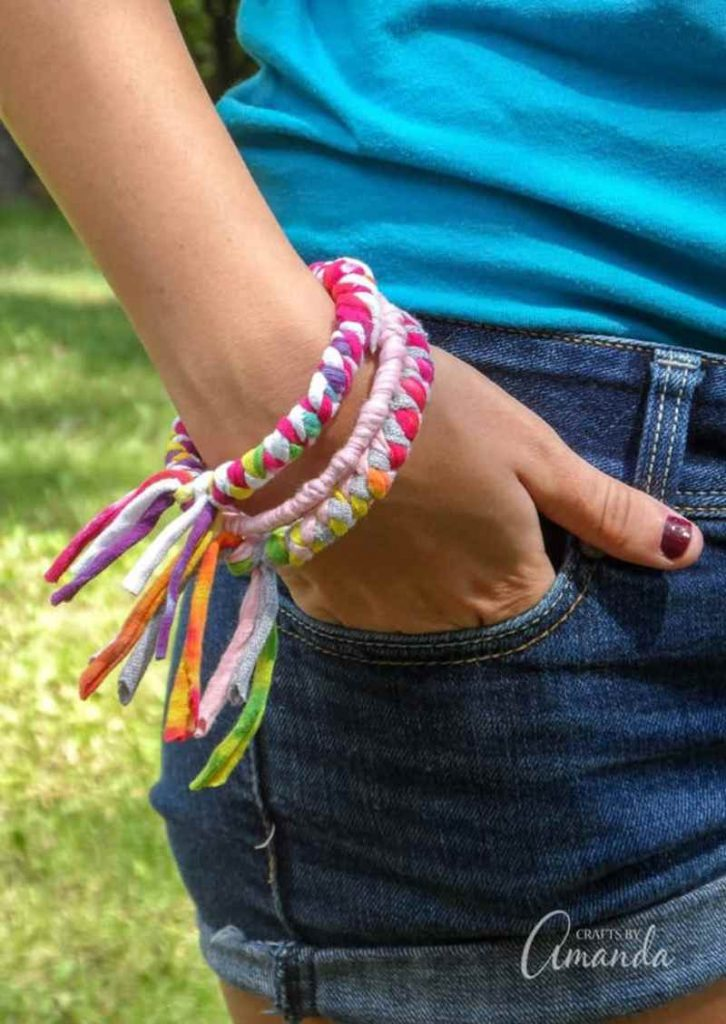 Bracelet made from recycled tee shirt