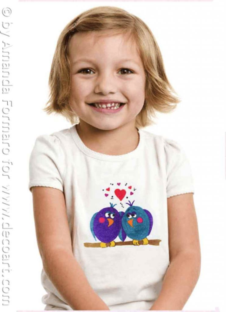 T Shirt with Iron On Love Birds Design
