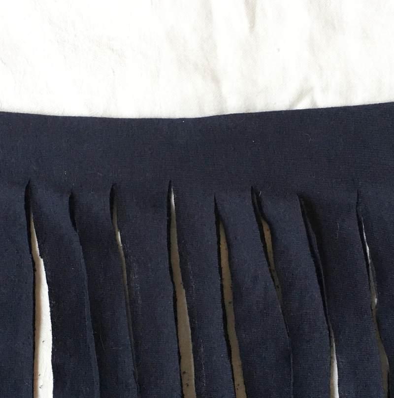 Shirt cut into yarn