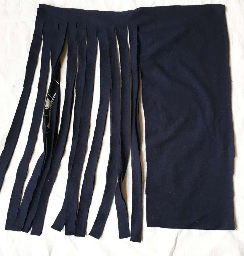 Cutting strips of tee shirt yarn