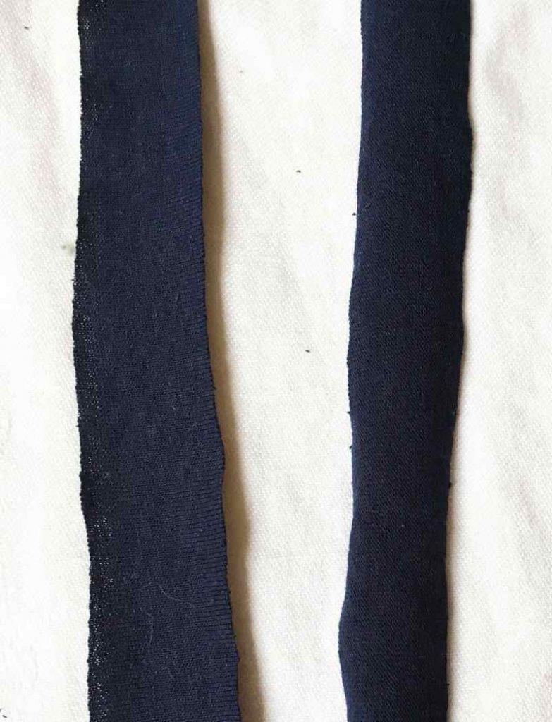 Flat strips of t shirt yarn