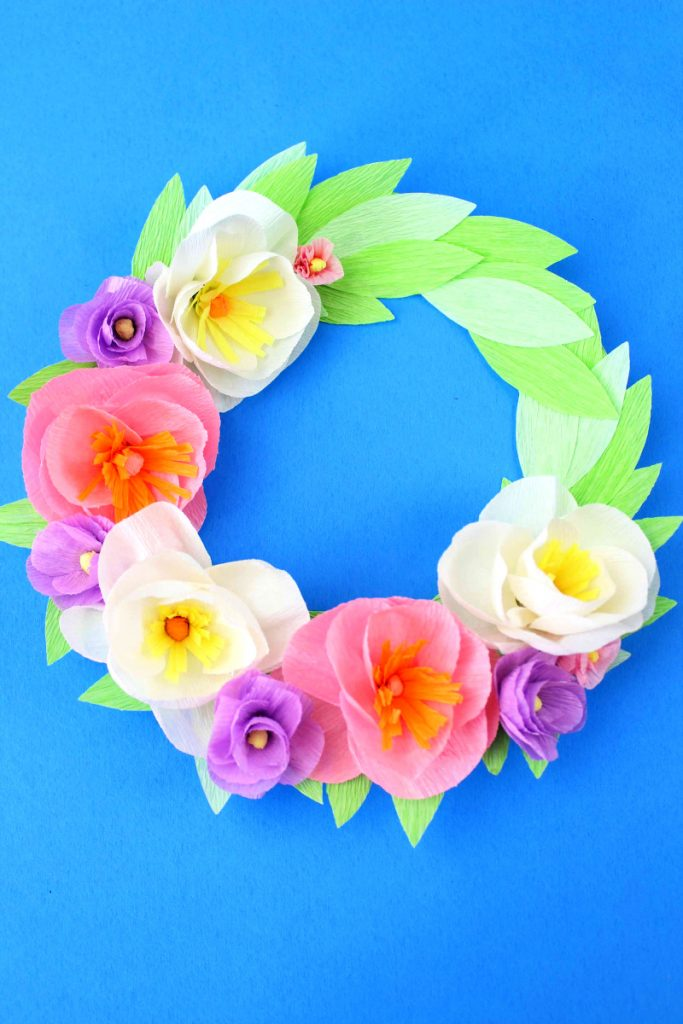 Flower Wreath made with Crepe Paper