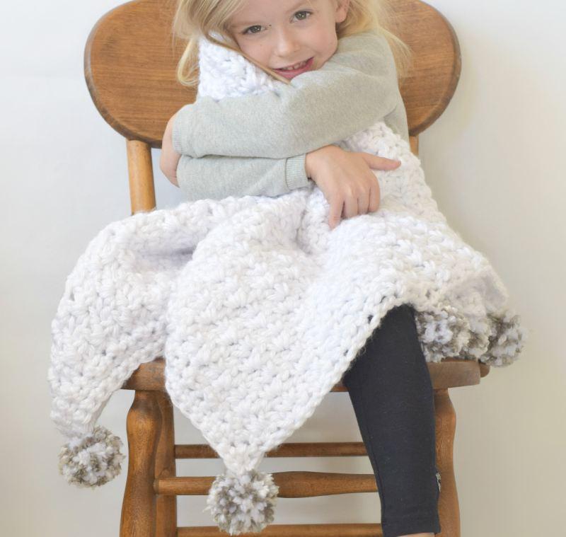 Loft Pom Baby Blanket Crochet Pattern