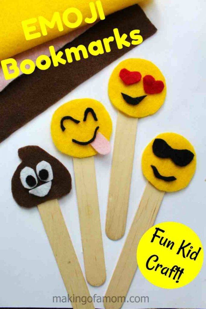 Emoji Bookmarks made with Craft Sticks for Kids