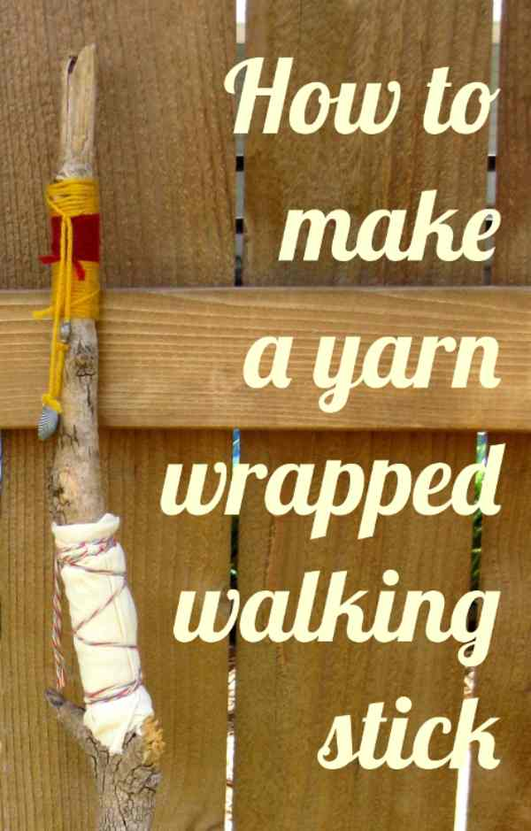 Craft idea for kids - Walking Stick wrapped with yarn