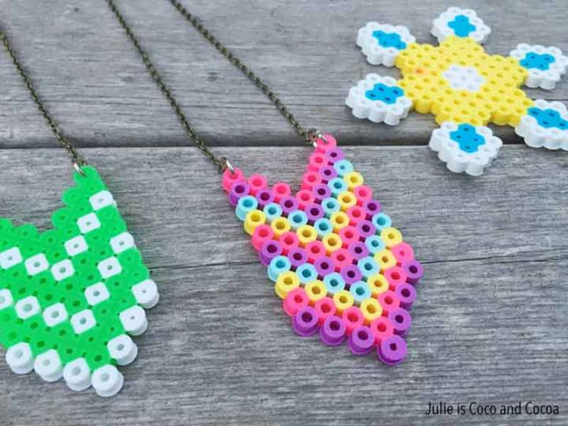 Melted Bead Necklace for Kids - craft ideas for kids