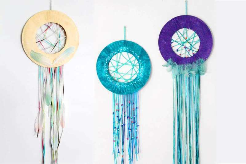 Dream Catchers made with Paper Plates