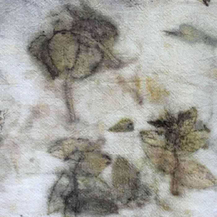 Cotton Fabric Eco Printed with leaves